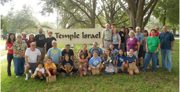 Group Shot at Temple Israel Sign for Mitzvah Day!